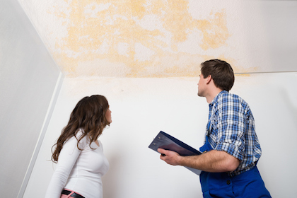 Young Worker Writing On Clipboard With Woman Standing In House